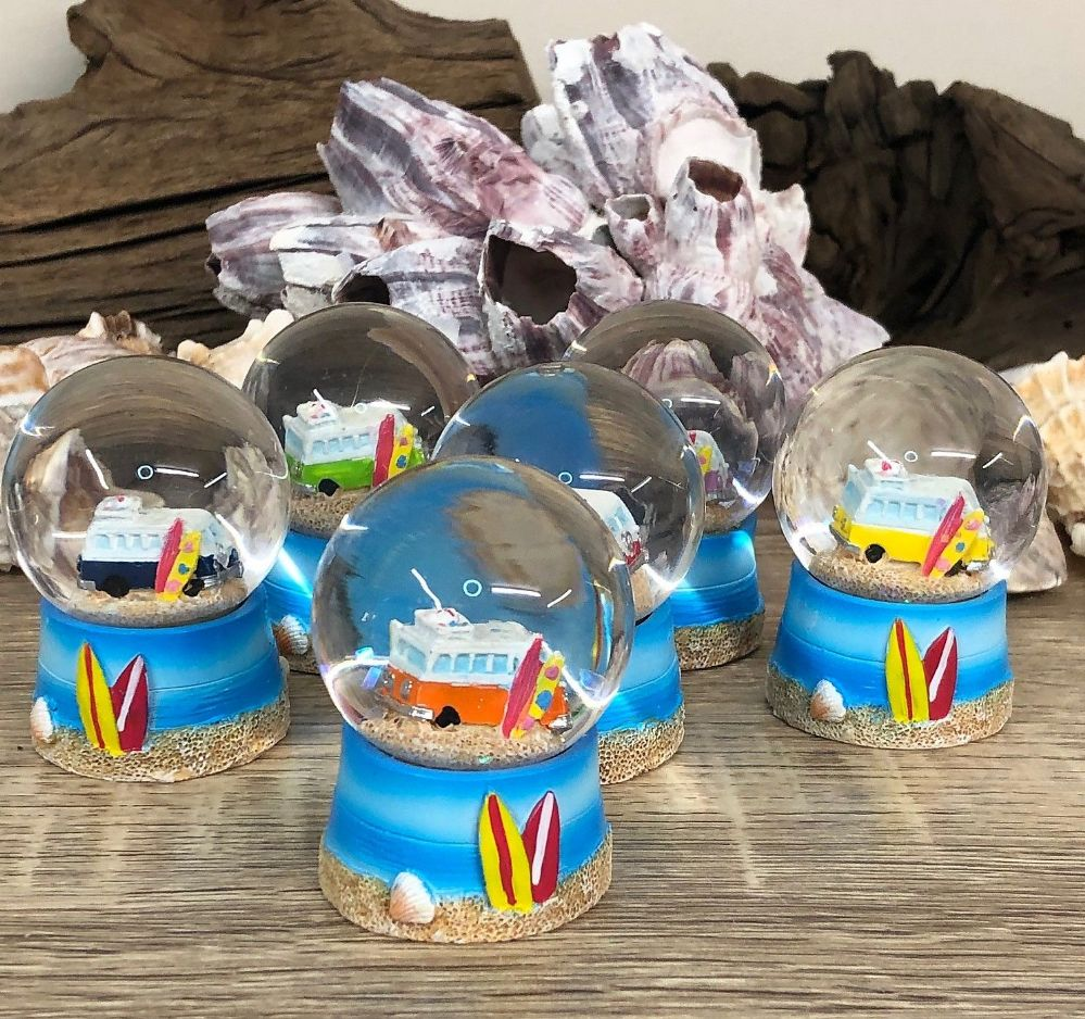 Blue Campervan Surfer Beach Theme Snow Globe